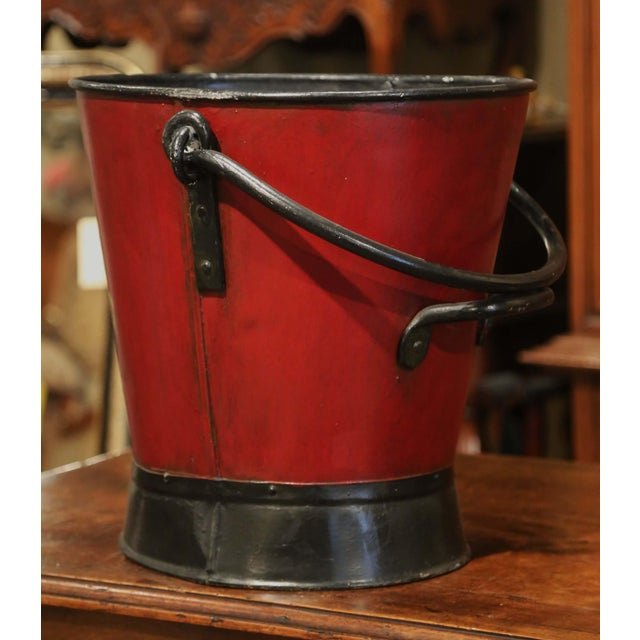19th Century French Black and Red Iron Coal Basket With Decorative Painted Decor For Sale - Image 9 of 11