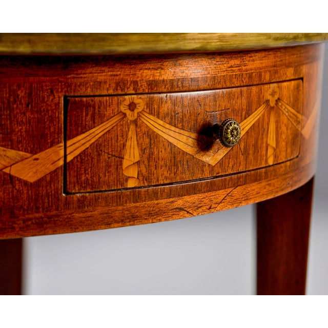 French Oak Marble Top Gueridon With Marquetry and Brass Gallery For Sale - Image 4 of 13