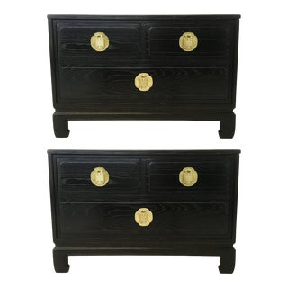 Cerused Oak Nightstands or End Tables by Davis Furniture Co - A Pair For Sale