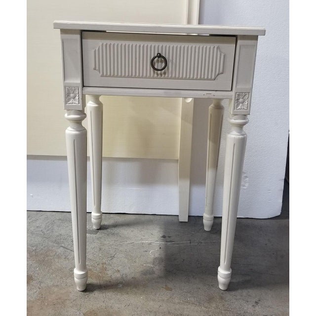 2000 - 2009 Swedish Style White Creamy Painted Nightstand For Sale - Image 5 of 5