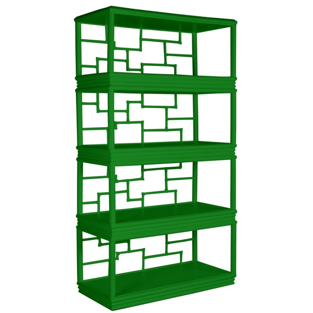 Wood Tibet Etagere - Bright Green For Sale - Image 7 of 7