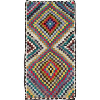 "Vintage Persian Flatweave Kilim Rug – Size: 5' 1"" X 10' 2"" For Sale"