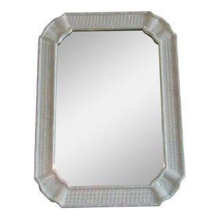 Vintage Faux Bamboo Mirror Refinished in White For Sale