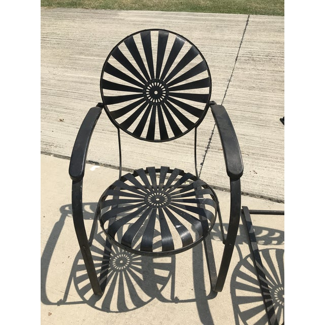 Metal Francois Carre French Sunburst Garden Chairs Circa 1930 - Set of 4 For Sale - Image 7 of 11
