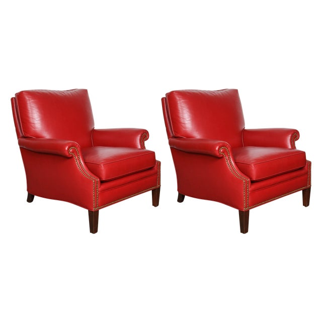 Pair of Red Leather French Club Armchairs For Sale - Image 12 of 12