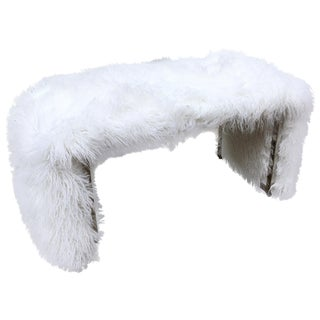 1960s Bench in Faux Alpaca Fur With Chrome Frame For Sale