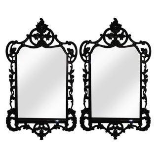 Large Black Lacquer Georgian Mirrors - A Pair