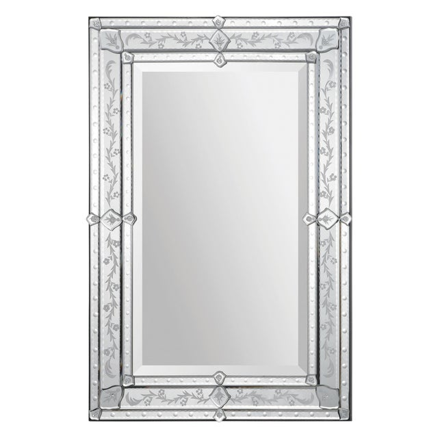 Traditional Vincenzo Etched All Glass Rectangular Wall Mirror For Sale - Image 3 of 3