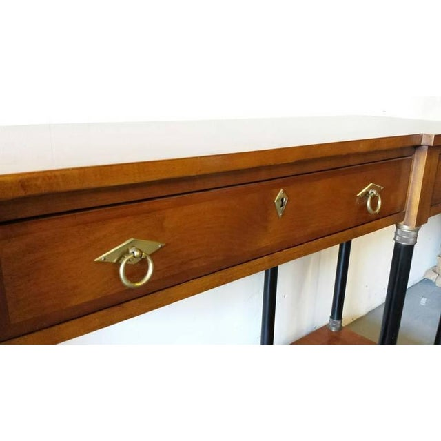 Burl Wood & Brass Deco Console - Image 4 of 6