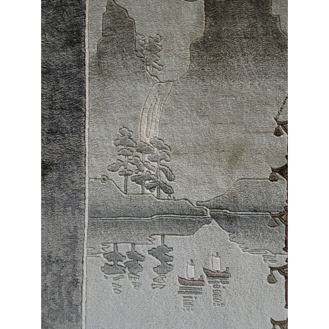 Textile Vintage Chinese Wool Wall Hanging Rug Tapestry 'Temple W Lake and Boats' For Sale - Image 7 of 13