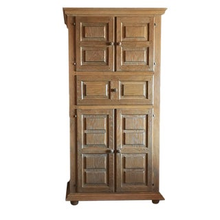French Country Solid Oak Armoire Highboy With Drawers and Shelves For Sale