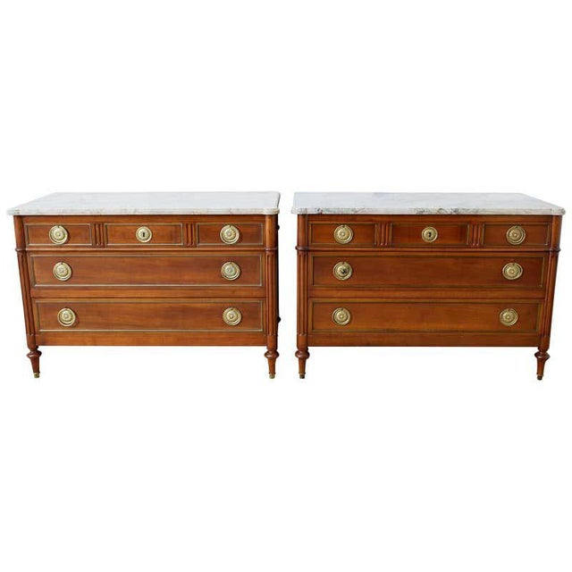 Pair of Louis XVI Style Marble Top Commodes or Dressers For Sale - Image 13 of 13