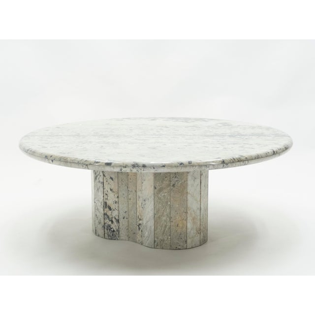 French Round Sicilian Marble Coffee Table For Sale - Image 9 of 13