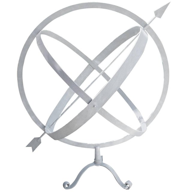 Mid-Century Modern 20th Century English Garden Ornament Armillary Sphere in Galvanized Metal For Sale - Image 3 of 3