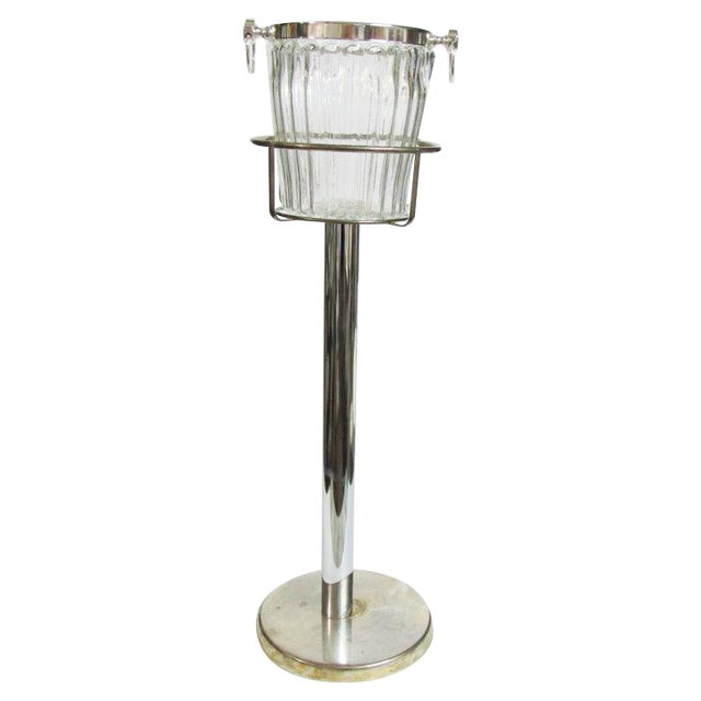 Silver Plate Champagne Stand & Crystal Bucket Set - Image 1 of 6