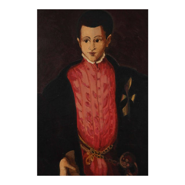 """Young Spanish Man in Black Coat"" oil on canvas, signed ""Ranuccio,"" large oil on canvas with a nice black frame on clear..."
