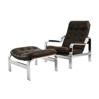 1970s USA Knoll Adjustable Patchwork Leather Lounge Chair For Sale