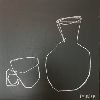 """""""Mug and Vase in Black and White"""", Contemporary Abstract Still Life by Sarah Trundle For Sale"""