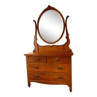 1900s Antique Oak Dresser and Mirror For Sale