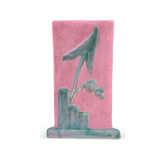 Pink & Teal Art Deco Triangular Vase - Image 2 of 3
