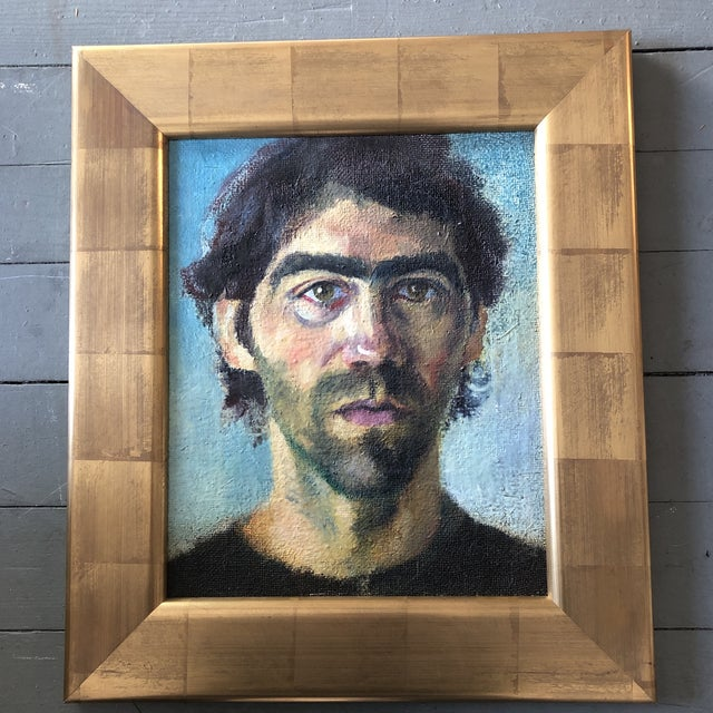 Canvas Contemporary Original Portrait Painting Young Man Gold Leaf Frame For Sale - Image 7 of 7