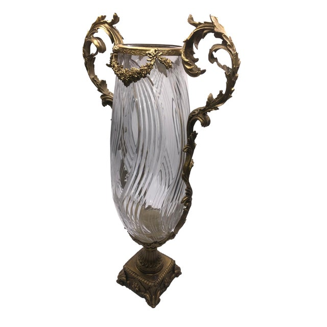 French French Sculptured Bronze Crystal Vase For Sale - Image 3 of 9