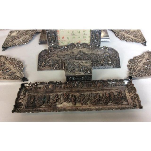Metal Antique Silver Plated Calendar Desk Set - 9 Pieces For Sale - Image 7 of 10