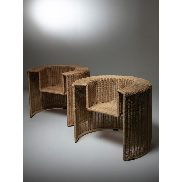 """Wicker Pair of """"Charlotte"""" Chairs by Mario Botta for Horm For Sale - Image 7 of 7"""
