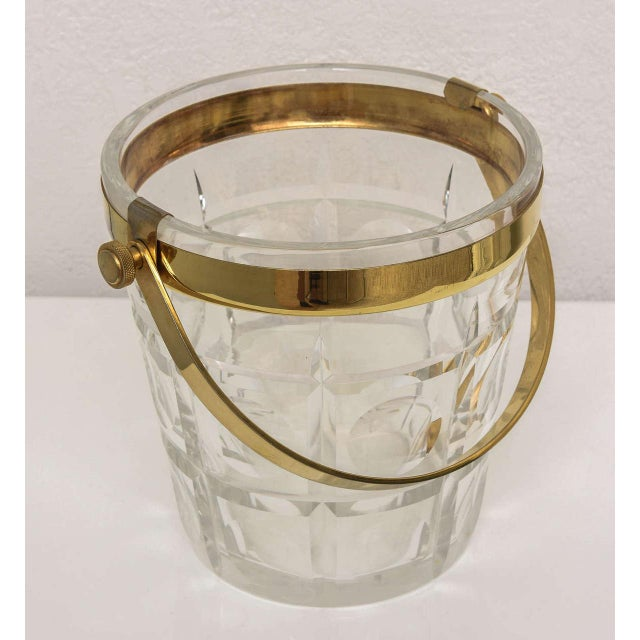 Hollywood-Regency Style Ice Bucket in Crystal with Brass Trim: American, 1940s For Sale - Image 9 of 10