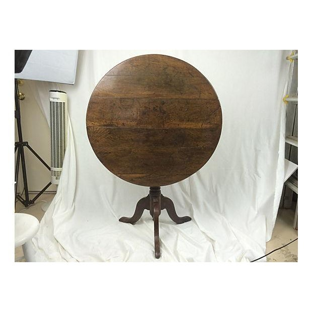 19th-C. English Oak Tilt Top Table - Image 4 of 4