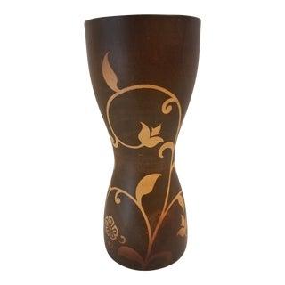 Thai Mango Wood Floral Design Vase For Sale
