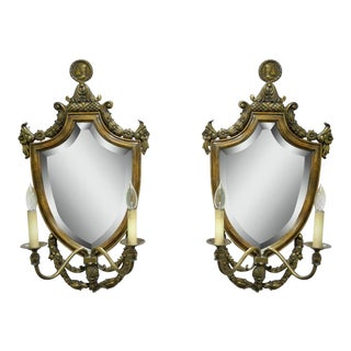 Pair of Spanish Renaissance Styl Brass Wood Mirror Shield Cameo Electric Sconces
