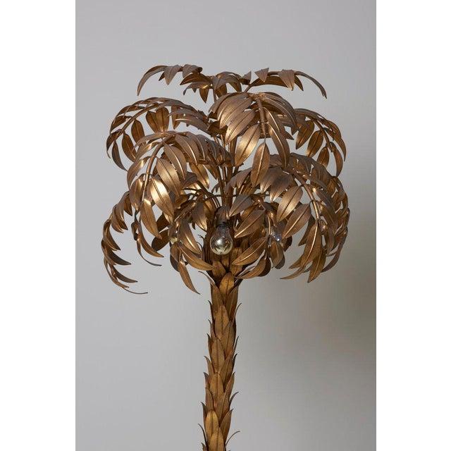 Hollywood Regency Huge Gilt Metal Palm Tree Floor Lamp by Hans Kögl For Sale - Image 3 of 9