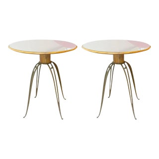 Rene Prou Rare Refined Pair of Side Table in Sycamore and Gold Leaf Wrought Iron For Sale