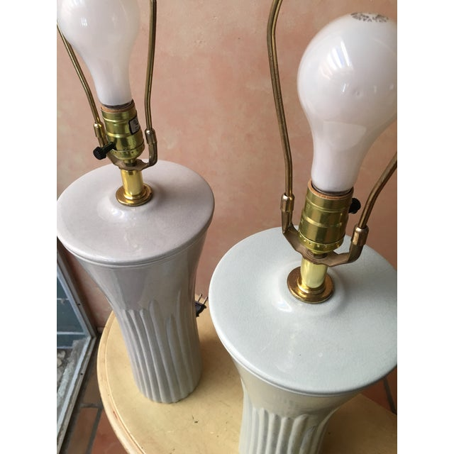 Art Deco Shades of Sea Foam Lamps - A Pair - Image 7 of 8