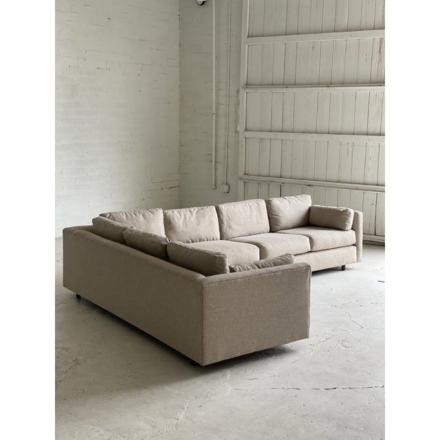 Mid Century Newly Upholstered 2-Piece Tan Sectional For Sale - Image 9 of 11
