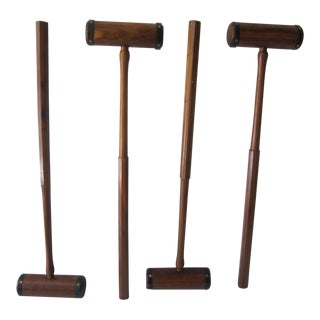 Carved Wood Polo Mallets - Set of 4 For Sale