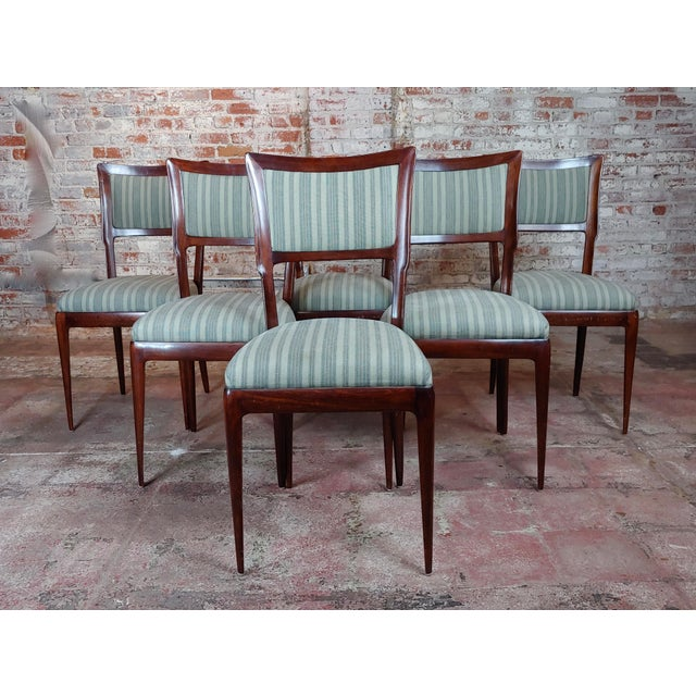 "Vintage Italian Art Deco Mahogany Dining Chairs -Set of 6 size 18 x 17 x 38"" seat height 18"" A beautiful piece that will..."