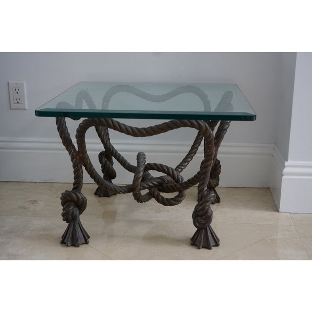 Brown Vintage Rope Side Table For Sale - Image 8 of 8