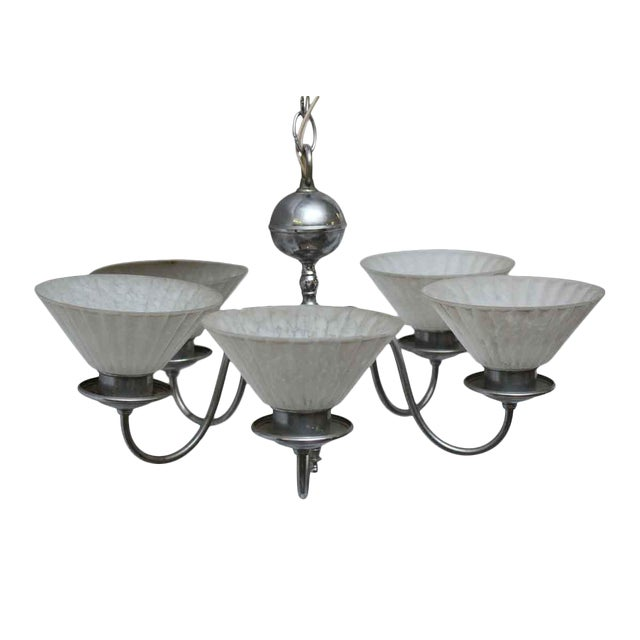 Five Light Chrome Deco Fixture With Glass Shades For Sale