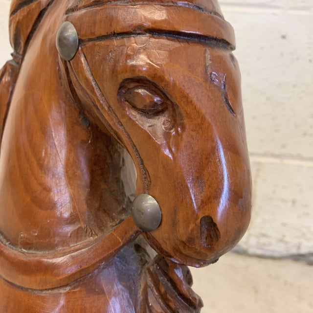 Sarreid Solid Wood Carved Folk Art Horse Head For Sale - Image 11 of 12