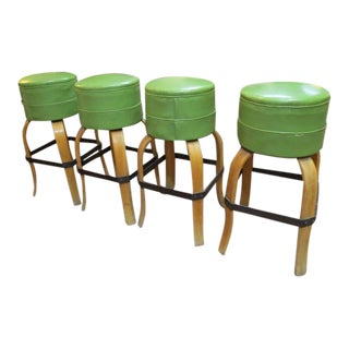Vintage Mid Century Modern Bar Stools- Set of 4 For Sale