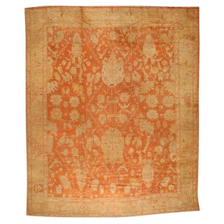 Antique 19th Century Oushak Carpet For Sale