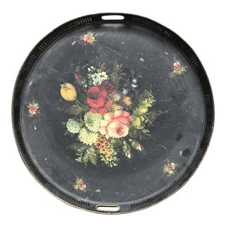 19th Century French Floral Tray For Sale