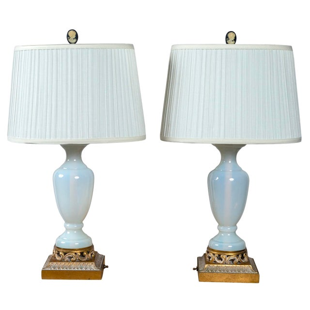 1940s French Opaline Glass Lamps - a Pair For Sale