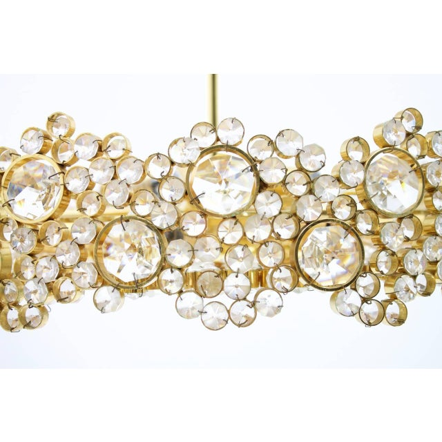 Large Gilded Brass and Crystal Glass Chandelier by Palwa, Germany 1960s For Sale - Image 6 of 11