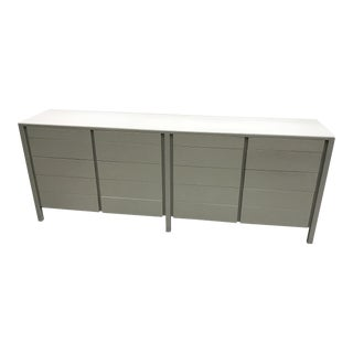 1970s Mid-Century Modern White and Gray Wood Credenza