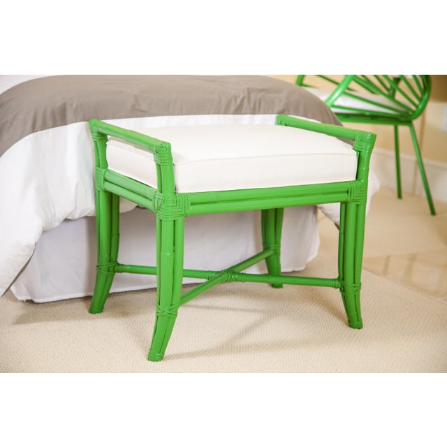 Coastal Small Malacca Bench - Bright Green For Sale - Image 3 of 4