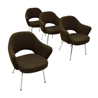 1960s Mid-Century Modern Eero Saarinen for Knoll Coffee Upholstered Chrome Armchairs - Set of 4