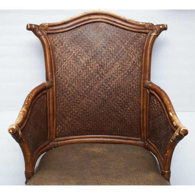 Vintage Chippendale Style Bamboo & Leather Chair - Image 7 of 9